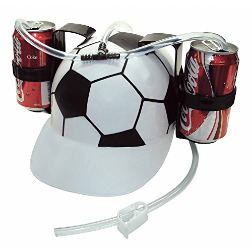Old Burger Soda Cola Beer Hat Cap Drinking Helmet with Straw for Party Game(Soccer Football)