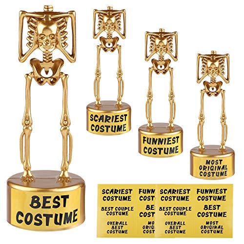 URATOT 4 Pack Halloween Costume Skeleton Plastic Gold Trophies, 6.1 x 2.1 Inches for Halloween Costume Contest Party Awards