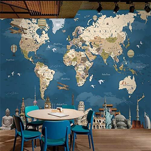 ZLYYH 3D Wallpaper Wandbild,Retro Nostalgie Weltkarte, Hd-Print Art Poster Bild Foto Wasserdicht Großes Seide Wandbild, Für Wohnzimmer Tv-Kulisse Schlafzimmer Hotel Küche Wand Dekor