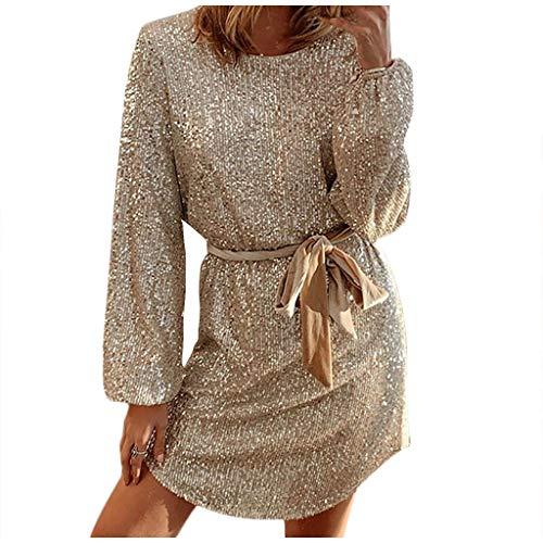 Vectry Damen Sexy Minikleid Glitzer Kurzes Kleid Rundhalsausschnitt Langarm Pailletten Partykleid Nachtclub Cocktailkleid Mode Sommerkleid Wickelkleid Gold M