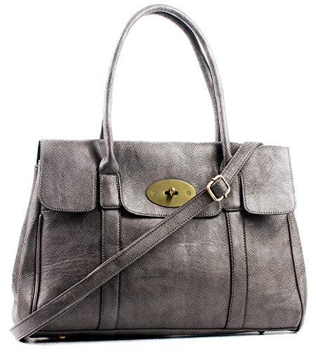 Aossta Womens Handbag Top Handle Bags for Women Large Tote Bag Turnlock 14 inch Laptop Shoulder Bags (3193 Dark Silver)