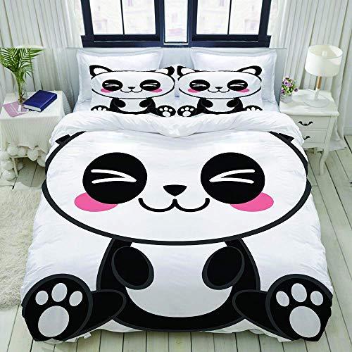 Rorun Funda nórdica, Kawaii Panda, Juego de Cama Juego de Funda de edredón de poliéster de Lujo Ultra cómodo y Ligero
