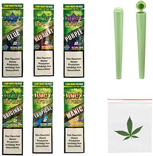 SweedZ 6X 2er Pack Juicy Jay Hemp Wrap - 12 Hanf Wraps mit 6 Flavours: Tropical, Original, Manic, Purple, Red, Blue