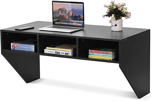 Black Wall Mounted Floating Desk Wall Mounted Console Modern Wall Mount Storage Shelf
