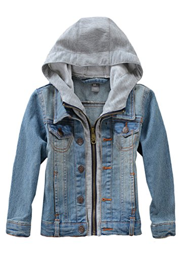 FTCayanz Enfants Manteau en Denim Garçons ou Filles Casuel Veste à Capuchon Style 1-Bleu 11-12 Ans/Hauteur 140-150cm