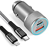 iPhone USB C Car Charger, WHIRELEAST 20W Dual Port Fast Car Charger Adapter with 3FT USB C to Lightning Cable for iPhone 12/12 Pro Max/Mini, 11/XR/XS/8/Plus, AirPods, iPad, More