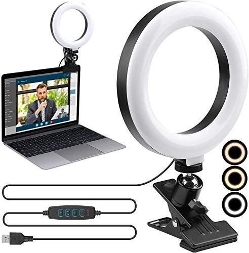 Set de iluminación para videoconferencias de 16,5 cm + 3 colores + 10 ajustes de brillo + 360 ° giratorio para videoconferencia, vídeo, grabación de vídeo, streaming en vivo, YouTube, TikTok, estudio