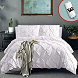 Vailge 3 Piece Pinch Pleated Duvet Cover with Zipper Closure, 100% 120gsm Microfiber Pintuck Duvet Cover,...