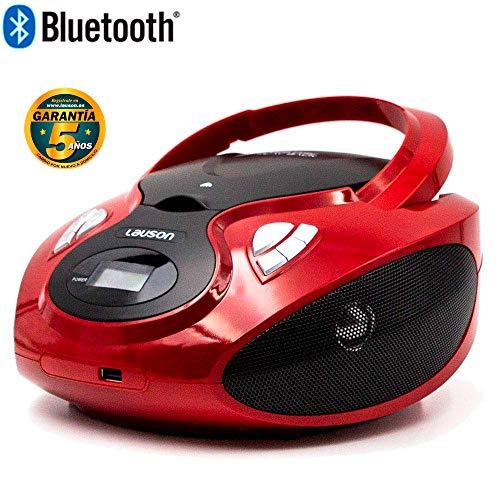 Lauson Radio FM y Reproductor de CD Portátil con USB | Radio FM | USB y Mp3 | CD Player Bluetooth con Salida para Auriculares 3.5mm CP639 (Rojo Bluetooth)