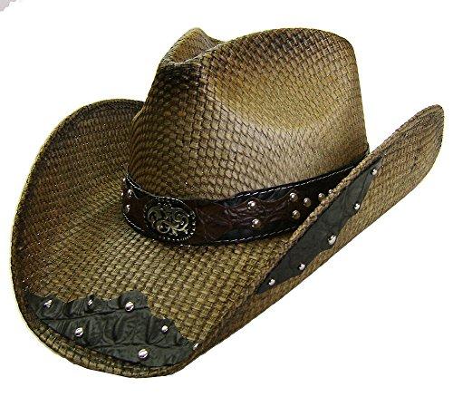 Modestone Unisex Straw Sombrero Vaquero Filigree Brown & Black (Ropa)