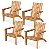 Giantex Wooden Adirondack Chair W/Ergonomic Design Outdoor Chair for Yard, Patio, Garden, Poolside, Balcony, Accent Furniture Armchair (4, Burlywood)