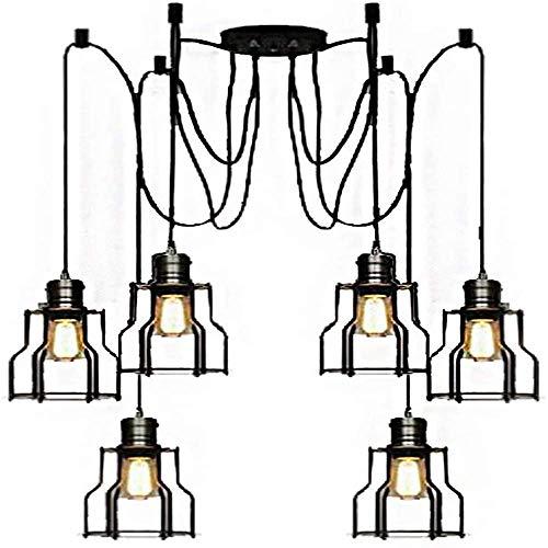GYC Lámpara Colgante Industrial Retro Industrial Negro Cocina Vintage 6 configuraciones Lámpara de Techo de Altura Ajustable para Sala de Estar, Comedor, Restaurante, BOD