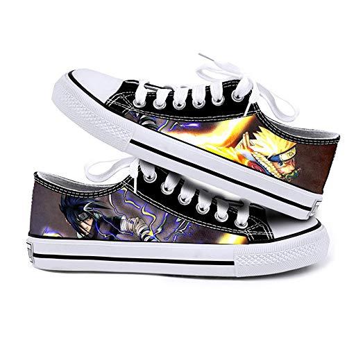 NXMRN Naruto Zapatos De Lona para Hombres Y Mujeres Zapatos De Lona Deportivos Casuales Bajos En Blanco Y Negro Zapatos Pequeños De Tablero Blanco-38