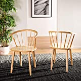 Safavieh Home Collection Blanchard Natural Curved Spindle Side Chair (Set of 2)