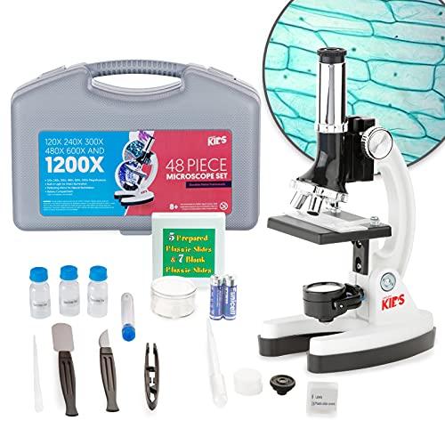 AmScope - FBA_M30-ABS-KT1-W AMSCOPE-Kids M30-ABS-KT1-W 120X-240X-300X-480X-600X-1200X 48pc Metal Arm & Base Educational Kids Biological Microscope Kit