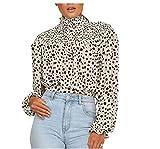 Top Blusa para Mujer Camisa con Cuello Alto Mangas Largas Abullonadas Estampado Floral/Leopardo Casual Sexy Elegante (Blanco-Leopardo, M)