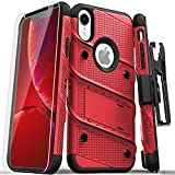 ZIZO Bolt Series for iPhone XR Case Military Grade Drop Tested with Tempered Glass Screen Protector Holster and Kickstand RED Black