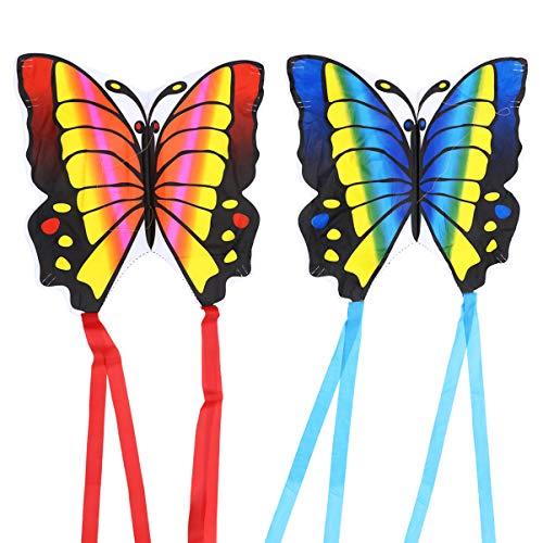 FAVOMOTO 2 Stück Schmetterlingsdrachen Kinder Schmetterlingsfee Drachen Drachenfliegen Spielzeug mit Langen Schwänzen für Park Garten Spiele Outdoor Geschenkartikel