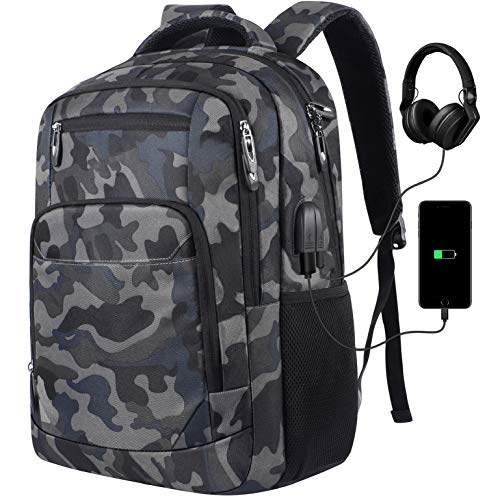 Mochila para ordenador portátil  escolar con puerto de carga USB  para viajes de negocios