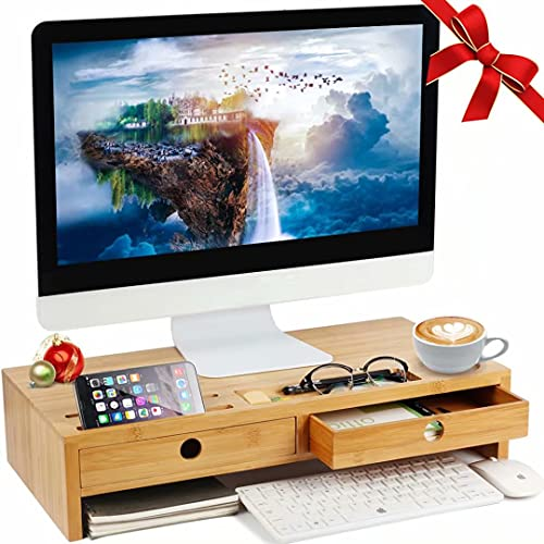 Herdzi Monitor Stand Riser with Drawers, Desktop,Laptop Stand Riser with Keyboard Storage...