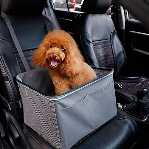 TOMSSL Haustier Auto Sitzerhöhung, Hund Katze Sitzerhöhung Atmungsaktive wasserdichte Abdeckung Protector Pet Travel Tragetasche (grau)