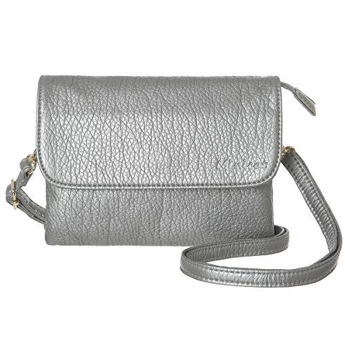 MINICAT RFID Blocking Small Crossbody Bags for Women Travel Small Purses and Handbags Crossbody with Card Slots(Dark Silver,Small)