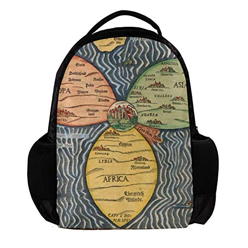 TIZORAX Bunting Clover Leaf World Map School Rugzak Rugzak College Bookbag Reizen Laptop Daypack Bag voor Mannen Vrouwen