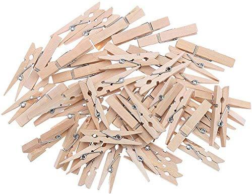 LOKIPA 木製クリップ 小 45mm 100個入り 木製クロスピン 木製ピンチ かわいい 木色 ウッドクリップ 洗濯バサミ 洗濯小物ピンチ 写真用に 飾り付け用(45mm 100個入り)