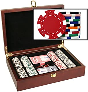 DA VINCI Mahogany Wood Poker Chip Set with Dice Striped 11.5 Gram Chips