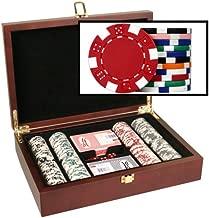 DA VINCI Mahogany Wood Poker Chip Set with Dice Striped 11.5 Gram Chips