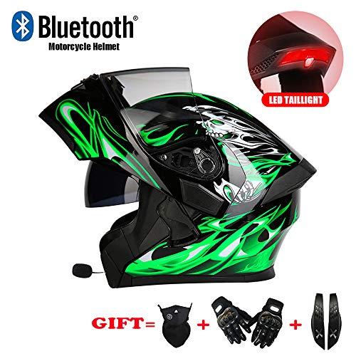JEANN-MThelmet Bluetooth-integrierter modularer Motorradhelm DOT-Sicherheitsstandard - Vollgesichts-Motorradhelm, Bluetooth (Maske, Handschuhe und Hupe),Green,XXXL