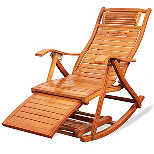 ZCL Folding Chairs for Outide Lightweight Bamboo Outdoor Sun Rocking Chair ,Sunbed Sunlounger Loungers Recliner Sling Chair Garden Chair. Folding Chair Covers (Color : Rocking Chair)