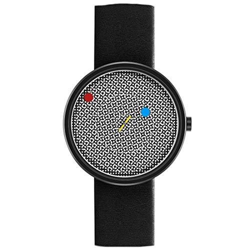 Projects Watches Vertere - Reloj unisex de cuarzo de acero y cuero negro