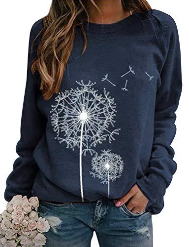 Dresswel Damen Löwenzahn Sweatshirt Langarmshirt Pusteblume Drucken Pullover Herbst Winter Bluse Tops Oberteile (Khaki, S) (1-Navy, XXL)