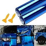 Mioke Pellicola Adesiva Protettiva,2PCS Auto Protezione Pellicola Metallico Rosso/Blu,1520 x 300mm Autoadesivo dell'automobile (Blu)