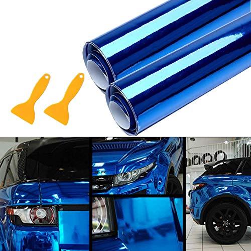 Mioke Lackschutzfolien für Auto,2Rolls Autofolie Aufkleber,Rot/Blau 1520 x300mm,High Glossy Auto Folien Selbstklebend Flexibel Auto Shutz (Blau)