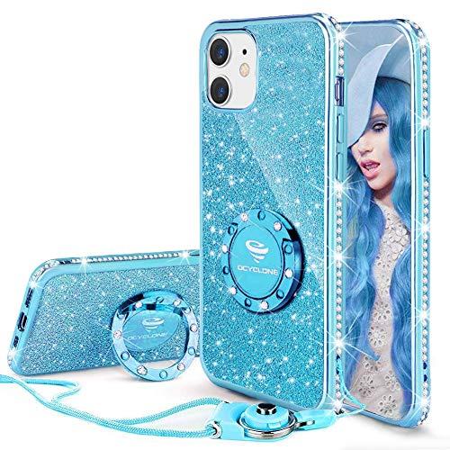 OCYCLONE Funda para iPhone 12 Mini, Glitter Cristal Diamante Brillante y Soporte de Anillo para Niñas y Mujeres, Funda para Teléfono con Purpurina para iPhone 12 Mini de 5.4 Pulgadas - Azul