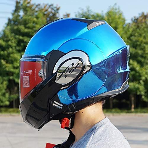 QYWSJ Casco de Moto LS2 Ff399, Casco de Moto Abatible DVS para Moto, Visera Abierta de Doble Cara Sólida (Múltiples Colores para Elegir)