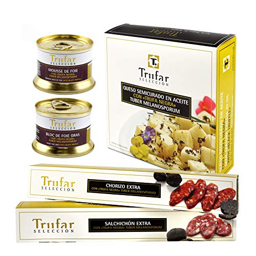 Trufar Selección Cesta Gourmet de 5 productos con Trufa, 1 Bloc de foie gras, 1 Mousse de foie, 1 Chorizo con trufa, 1 salchichón con trufa, 1 queso de oveja