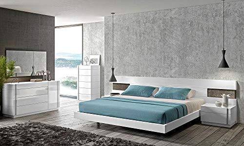 Big Save! White Lacquer & Natural Wood Veneer King Bedroom Set 5Pc Soflex Amora Contemporary