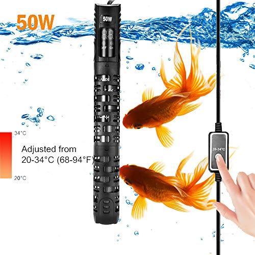 Allomn verwarmer voor aquarium, automatische verwarmer voor aquarium, warmer, 20-34 °C, temperatuur verstelbaar met zuignap, bescherming voor aquarium 50-350 l, 50W 0-25L
