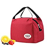 red bag with small white polka dots