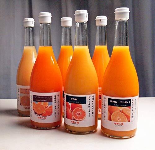お中元 夏ギフト無農薬柑橘 無添加のストレートジュース 6本入り 果汁100%のストレートジュース 6種類 720ml×6本