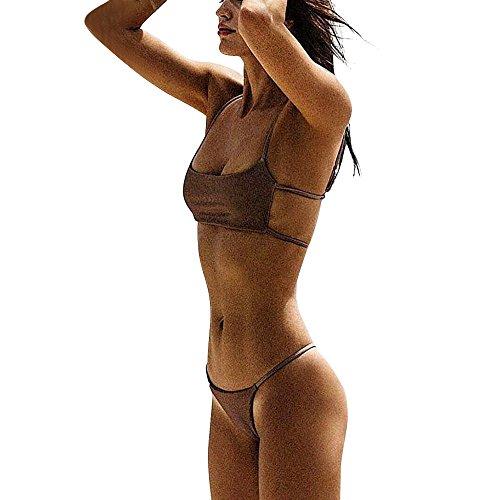 BOLANQ mädchen Damen Set Micro Volant top häkeloptik usa nur Tanga one Shoulder surf 65f 164 Bikini gelb schwarz weiß cyell Oberteil Neckholder dodoing 80d bade Damen Bikinis