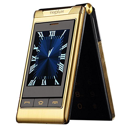 G10 3.0' Double Dual Screen Dual SIM Card Long Standby Touch Screen FM Senior Phone Flip Mobile Phone for Old People (Gold)
