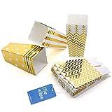 Diealles Scatole di Popcorn, 36PCS Contenitori di Popcorn Contenitori di Caramelle per Spuntini del Partito, Dolci, Popcorn e Regali (Oro)