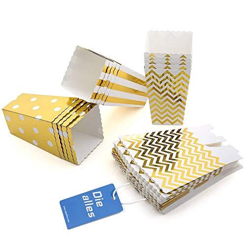 Diealles 36PCS Mini Caja de Fiesta de Palomitas Contenedor de Dulces para Los Bocados del Partido, Los Dulces, Las Palomitas y Los Regalos - Dorado