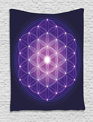 ABAKUHAUS Azul Oscuro Tapiz de Pared, Flor de la Vida Estrellas Símbolo Geometría Sagrada Antigua Estampa, para el Dormitorio Apto Lavadora y Secadora Estampado Digital, 100 x 150 cm, Azul Oscuro