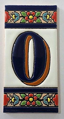 ARTESANÍA ROCA Letras y números de azulejo cerámico. Modelo Flor Azul. Medidas 11cm Altura x 5,5 cm Ancho Made IN Spain (O Letra)