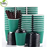 100 Pack 12oz Paper Coffee Cups With Lids Disposable To Go Hot Beverages Green Coffee Cups for Party by Bulex